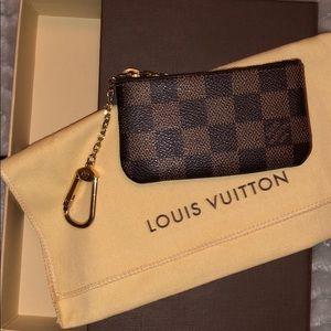 Louis Vuitton brown checkered print keychain